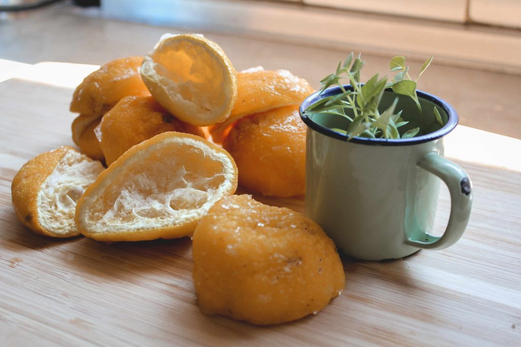 Lemon rinds make a great smelling chemical-free cleaning spray when mixed with vinegar.