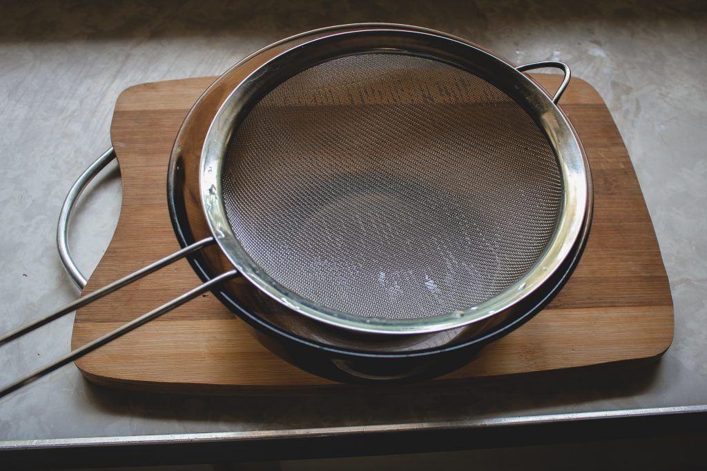 sieve and bowl