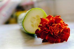 Cucumber and marigolds for marigolds and meat